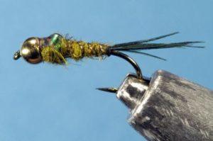 Custom tied bead head flash back gold ribbed hares ear